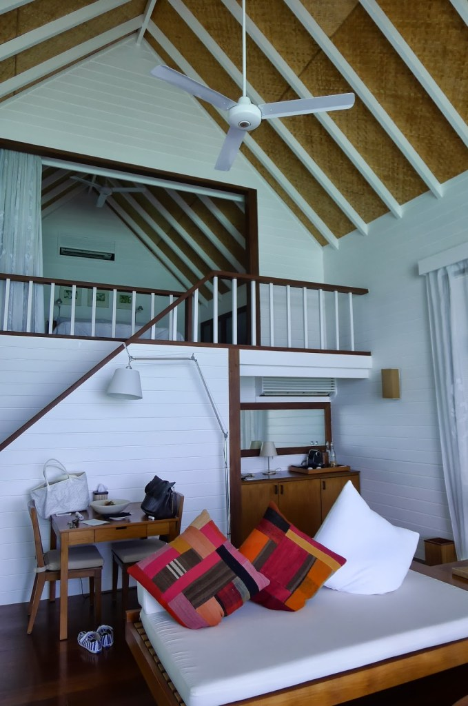 The living room with a mezzanine floor