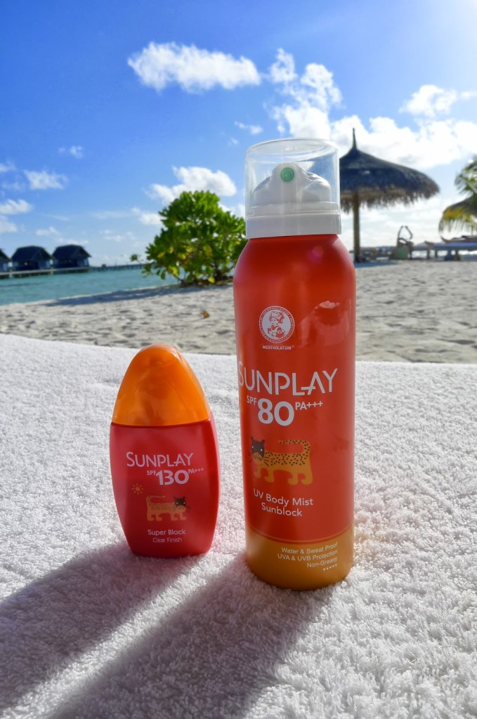 Can't leave home for Maldives without this. I swear by Sunplay's SPF lotion and spray plus Oral sunblock by Heliocare (not in this pic).