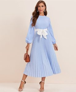 Lantern Sleeved Polka Dot Pleated Dress with Belt