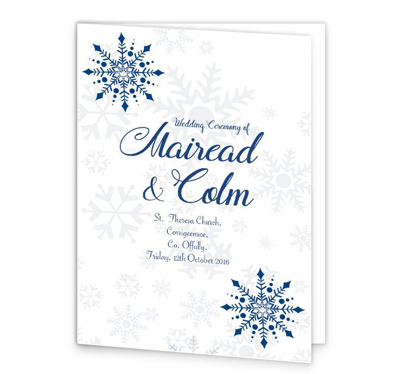 Snowflake Wedding Mass Booklet Cover Loving Invitations