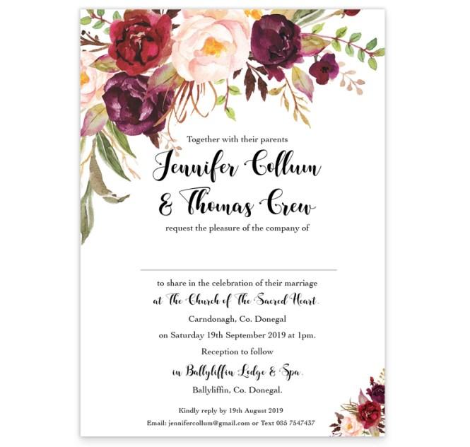 Fl Love Flat Wedding Invitation Sample