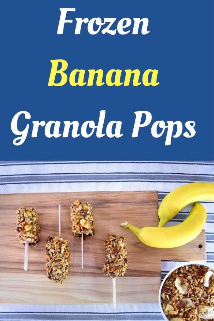 Frozen Banana Granola Pops | Granola Recipe | Banana Snack | Frozen Snack | Easy Toddler Snack | Easy Summer Treat | Chocolate Dipped Bananas | Chocolate and Granola