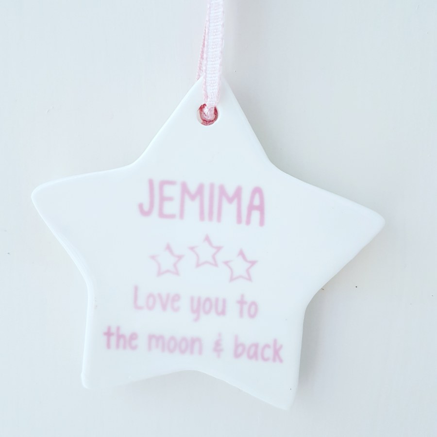 Ceramic star with personalised message