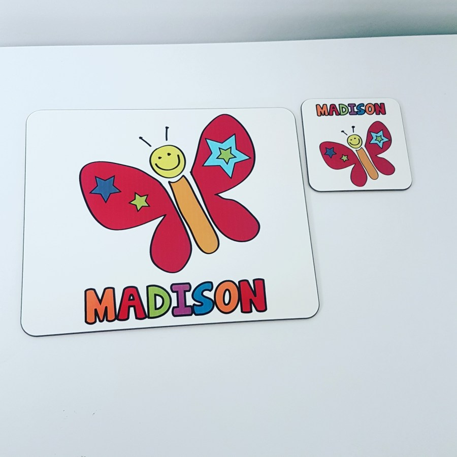 Butterfly placemat and coaster set