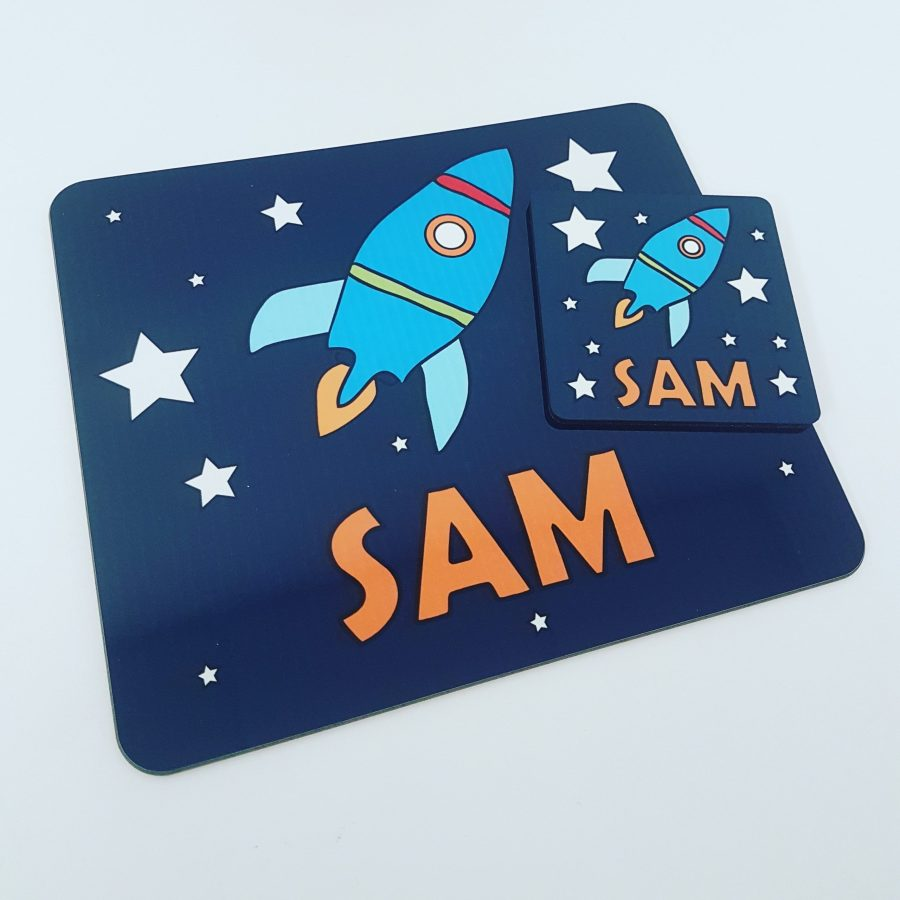 Rocket placemat and coaster