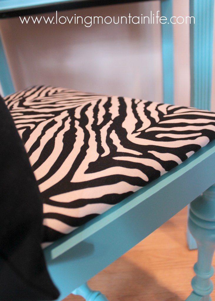 A DIY Aqua and Zebra Desk Makeover for less than $25 from Loving Mountain Life