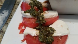 caprese salad with homemade mozzarella cheese