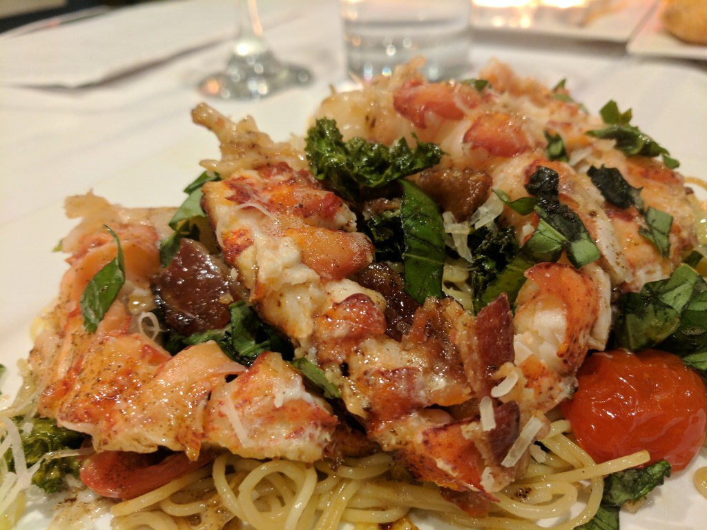 lobster tails with bacon kale and fontina pasta