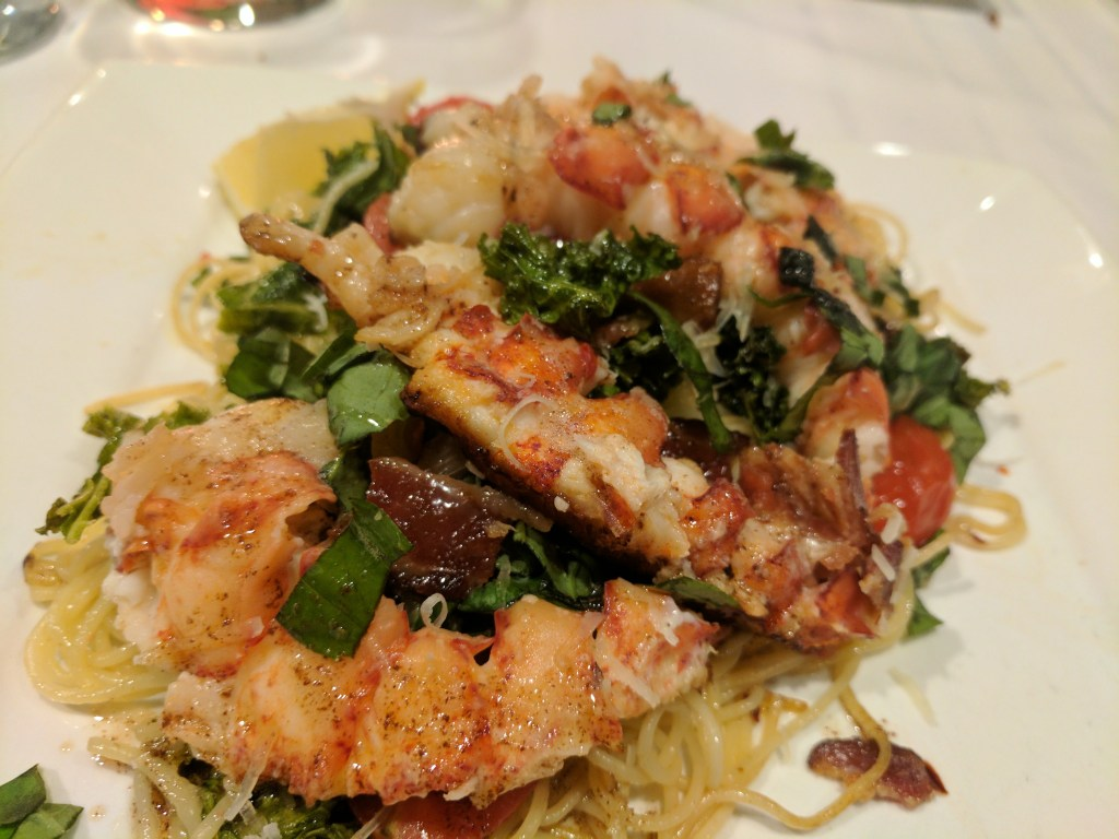 lobster tails with bacon kale and fontina pasta1