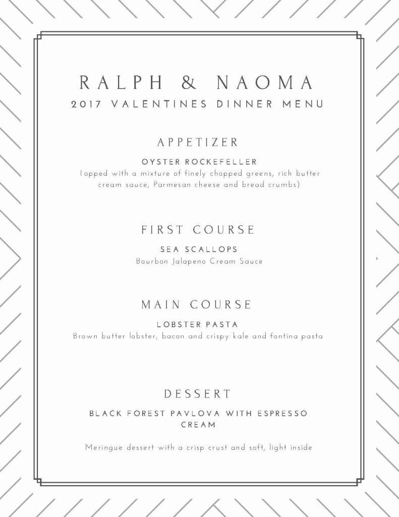valentines seafood menu