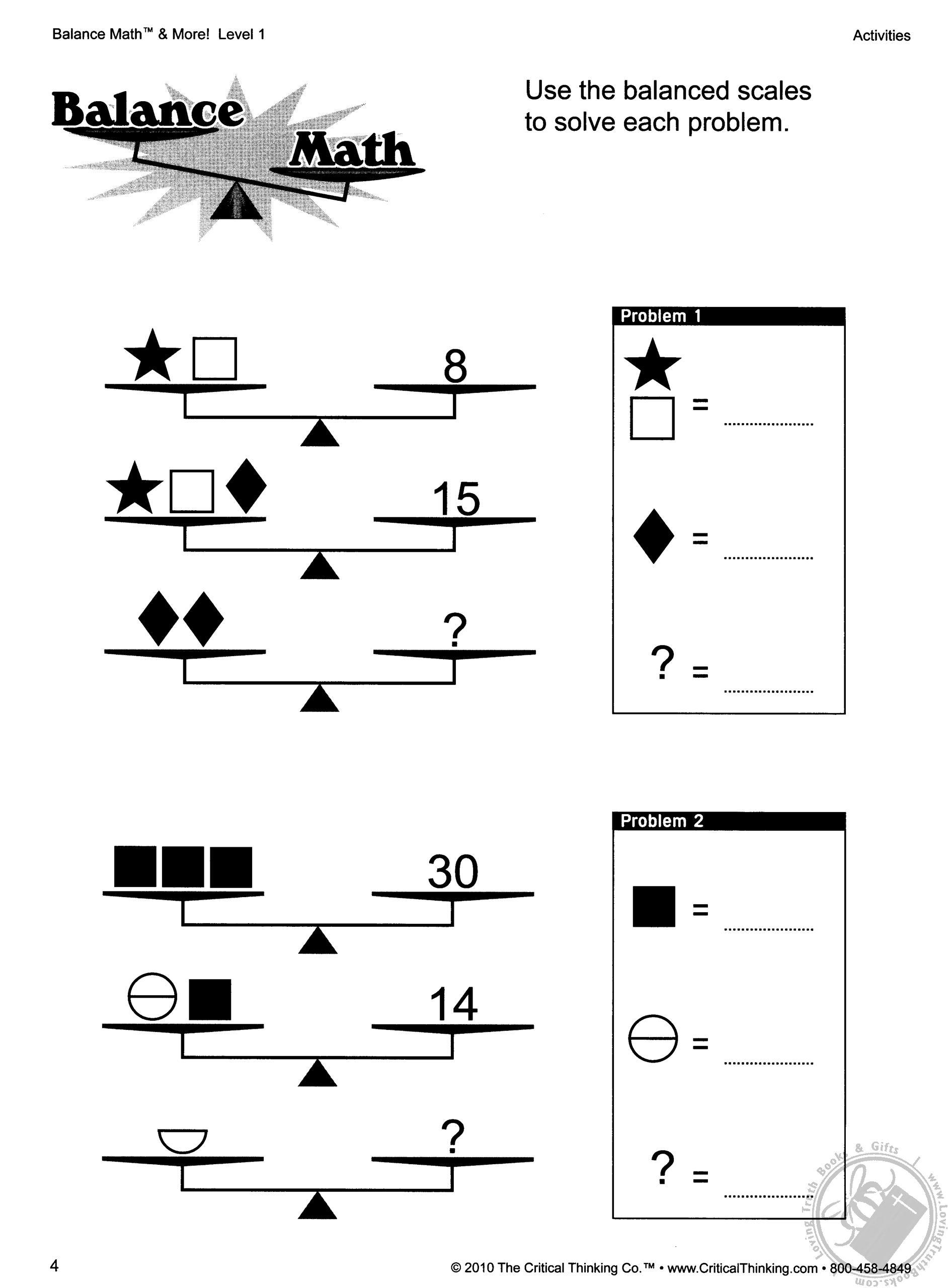 Balance Math Amp More Level 1 Grades 2 5 By Robert