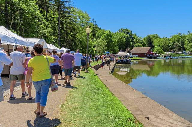 The entrance walkway to Twin Lakes Park, where Westmoreland Arts and Heritage Festival will celebrate its 45th anniversary from July 4-7.