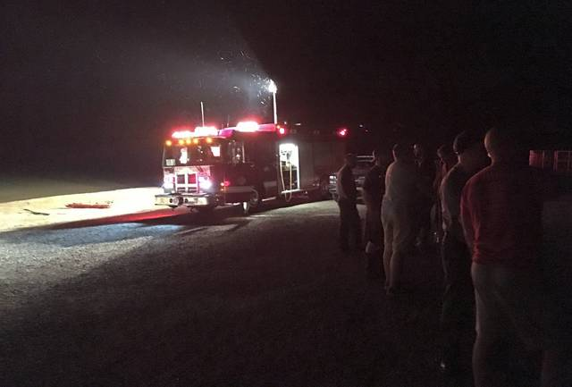 First responders are shown at the Bush Recreation Area boat launch during a search for a submerged car in Loyalhanna Creek that was reported Friday evening.                                 First responders are shown at the Bush Recreation Area boat launch during a search for a submerged car in Loyalhanna Creek that was reported Friday evening.