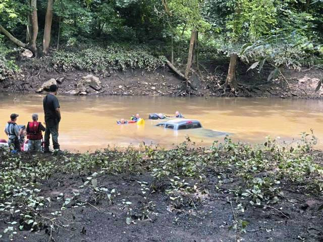 Murrysville Medic One dive team assisted area firefighters with retrieval of pickup truck from Loyalhanna Creek near New Alexandria Saturday. No injuries were reported.                                  Murrysville Medic One dive team assisted area firefighters with retrieval of pickup truck from Loyalhanna Creek near New Alexandria Saturday. No injuries were reported.