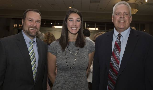 At left is Chad Amond, president and CEO of the Westmoreland County Chamber of Commerce. He's with Christina Jansure, vice-chair of the chamber, and Mike Storms, the chamber's board chair, at an event in October.