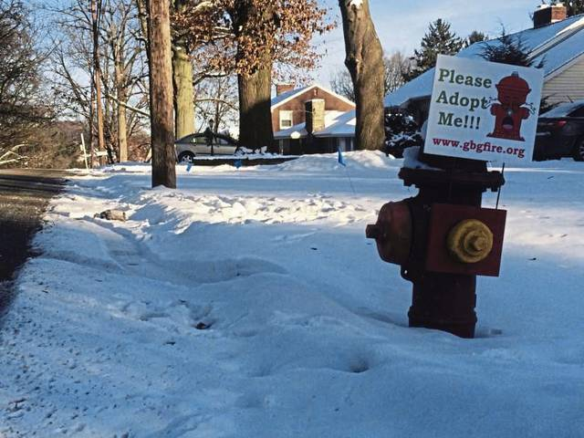 """This fire hydrant on Northmont Street in Greensburg, like all others in the city, now have been """"adopted"""" by someone who's paying for a high visibility sign so firefighters can quickly find the hydrants in an emergency."""