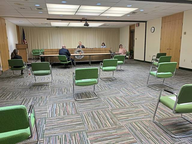 Social distancing was practiced at the Westmoreland County commissioners meeting at the Greensburg courthouse on Friday, March 20, 2020.