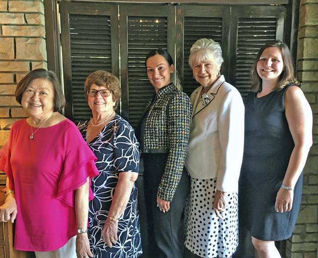 Murrysville Woman's Club members Joyce Koga, Connie Jelovich and Joy Somers pose for a photo on July 8, 2020, with the club's 2020 scholarship recipients Jenna Maroadi of North Huntingdon (third from left) and Bobbi McVay of Greensburg (right). Not pictured is scholarship recipient Heather Lake of New Alexandria.