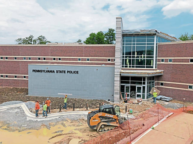 The 35,000-square-foot Pennsylvania State Police Troop A barracks under construction in Greensburg contains state-of-the art lighting, HVAC, security and other systems.