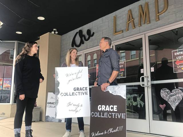 From left, Grace Collective worship leader Kyley Tusay, children's leader Marsha Phipps and lead pastor Rich Phipps meet on Saturday<ins>,</ins><ins> Sept. 26, 2020,</ins> at Irwin's Lamp Theatre to prepare for their new church's inaugural service at the theater on Sunday morning.