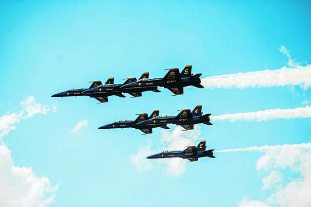 The U.S Navy Blue Angels squadron flies in formation for crowds over Latrobe at the Shop 'n Save Westmoreland County Airshow at Arnold Palmer Regional Airport on Saturday, June 24, 2017.