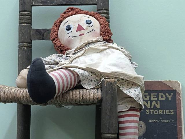 """A vintage Raggedy Ann doll, part of the """"Christmas Memories"""" exhibit in the Westmoreland Historical Society's Kendra Gallery at Historic Hanna's Town."""