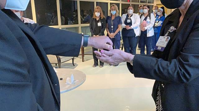 Excela Health Latrobe Hospital marked National Nurses Week on Monday with a ceremony during which the hands of staff members were blessed with frankincense serrata oil.