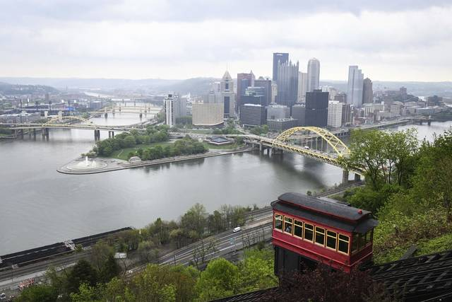 The Point State Park Fountain is seen from the Duquesne Incline overlook Monday in Pittsburgh.