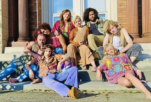 "Cast members from Stage Right's ""Hair"" (clockwise from bottom left): Anthony Marino Jr., Cav O'Leary, Ryan Jordan, Anna Stewart, Mandie Patsy, Brady Patsy, Rylan Jenkins-Snaith and Katherine Harkins."