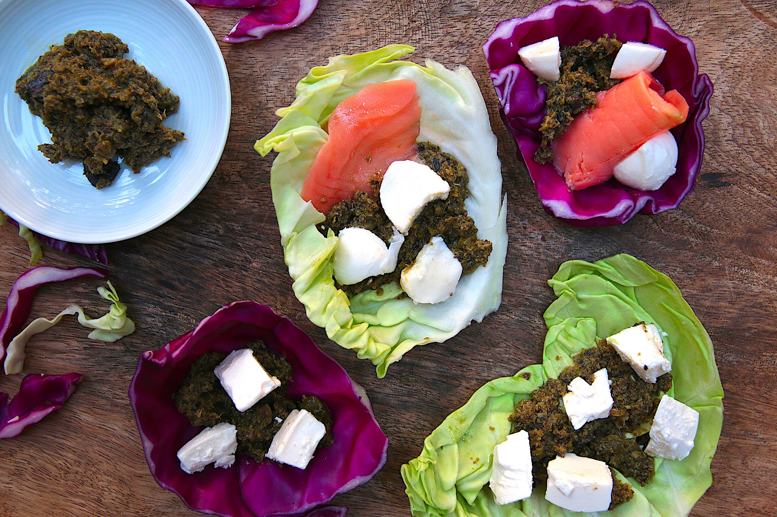 tapenade cabbage boats