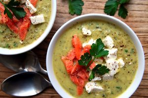 zucchini curry soup with salmon and feta