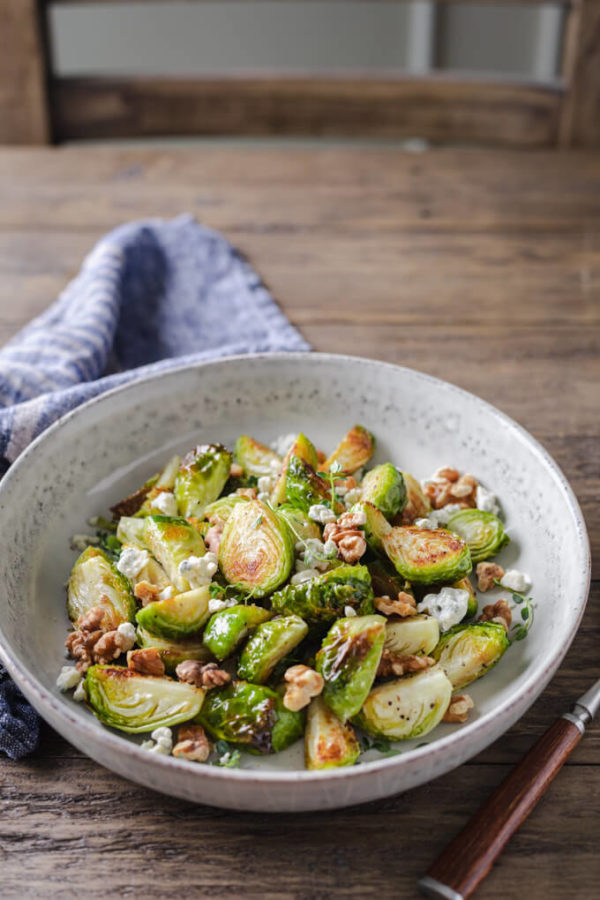 Roasted Brussels Sprouts with Walnuts and Blue Cheese