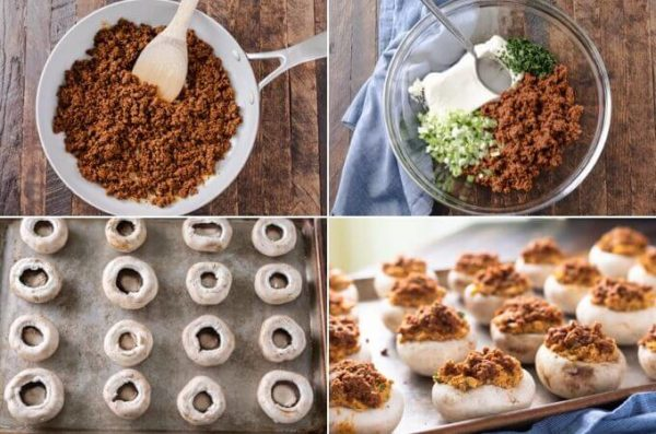 How to make chorizo sausage stuffed sausage picture collage