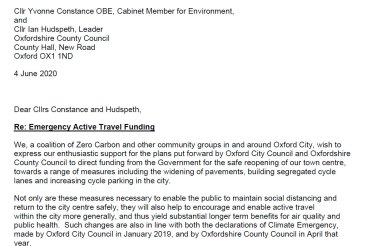 Emergency Active Travel Funding – Letter to Cllrs Constance and Hudspeth