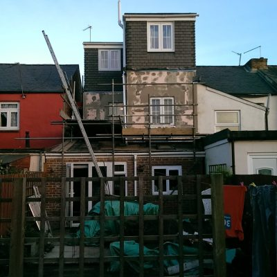Back of house DURING EWI installation