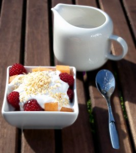 Melon and Raspberry Salad with Vanilla Coconut Sauce - As Breakfast