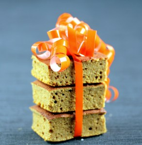 Moist Low-Carb Pumpkin Bars, Pile with Orange Ribbon | Low Carb, So Simple!