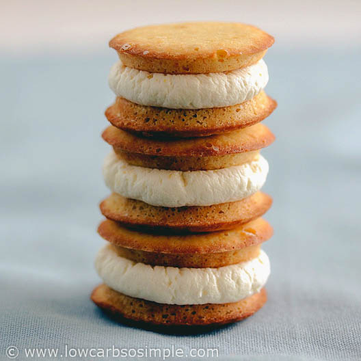 Tangy Greek Yogurt Frosting as Filling in Whoopie Pies | Low-Carb, So Simple