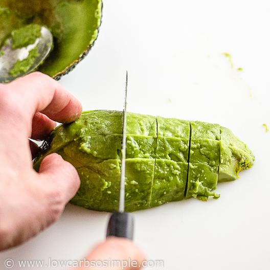 Image of Shrimp Avocado and Red Grapefruit Appetizer; Cutting the Avocado Flesh | Low-Carb, So Simple