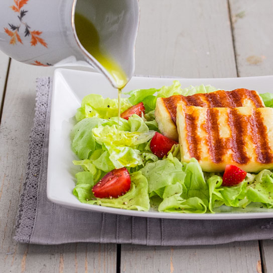 Strawberry Halloumi Salad; Finishing with Olive Oil | Low-Carb, So Simple!