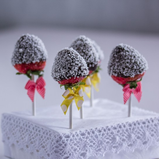 Chocolate Dipped Strawberry Pops; Pops Decorated with Shredded Coconut | Low-Carb, So Simple!