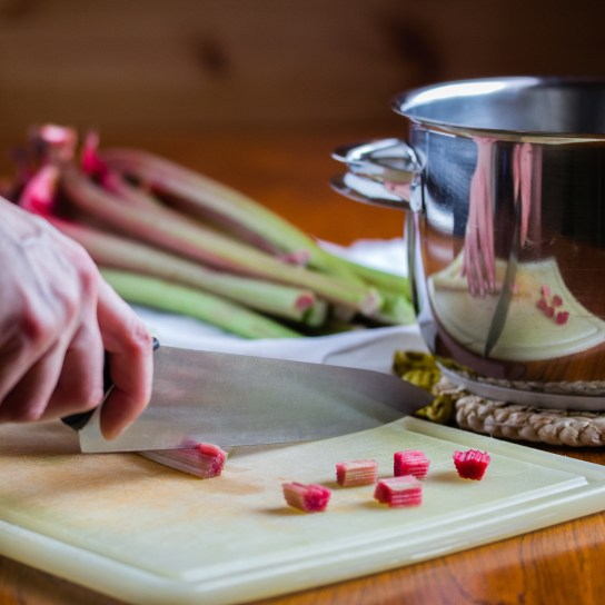 Rhubarb Chutney, Chopping the Rhubarb | Low-Carb, So Simple!