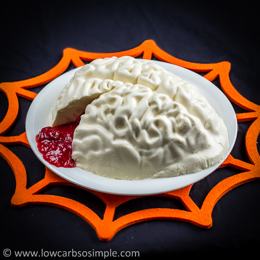 Brains, Bloody Brains -- Brain-Shaped Creamy Gelatin for Halloween   Low-Carb, So Simple!