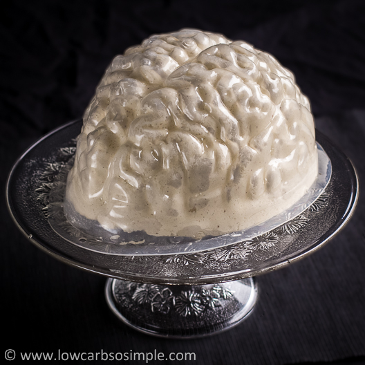 Brains, Bloody Brains -- Brain-Shaped Creamy Gelatin for Halloween; Strawberry Jam Filled Gelatin Inside the Mold on a Serving Plate | Low-Carb, So Simple!