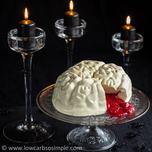Brains, Bloody Brains -- Brain-Shaped Creamy Gelatin for Halloween | Low-Carb, So Simple!
