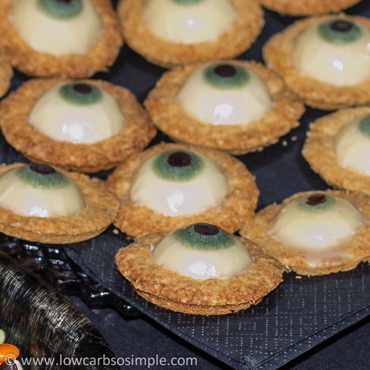Halloween Party Food; Vanilla Toffee Butter Cookies with Home-Made Sugar-Free White Chocolate Eyes | Low-Carb, So Simple!