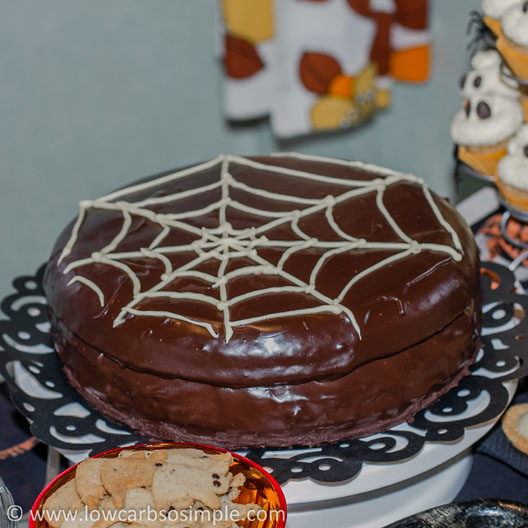 Halloween Party Food; Sugar-Free, Gluten-Free Sacher Torte with Creamy Sugar-Free Apricot Mousse Filling | Low-Carb, So Simple!