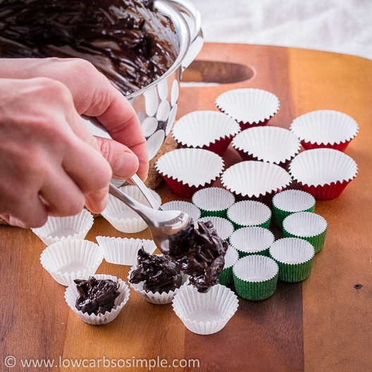 Crunchy Cherry Chocolate Confections; Spooning the Mixture into Candy Cups | Low-Carb, So Simple!