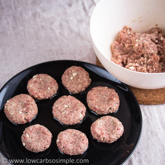 Tasty Feta Burgers; Some Patties Formed from the Mixture | Low-Carb, So Simple!