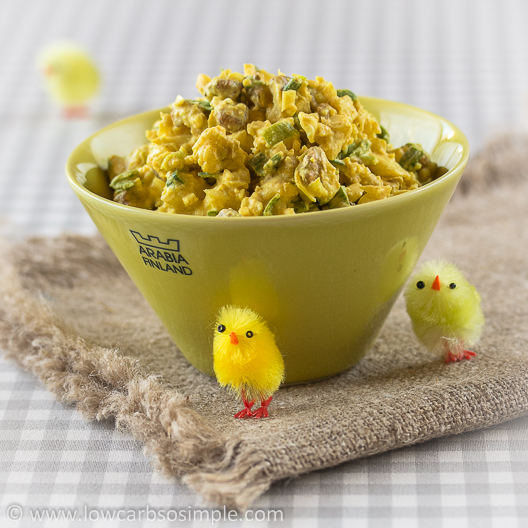 Crunchy Nutty Cauliflower Salad; Colored with Turmeric & Ready for Easter | Low-Carb, So Simple!